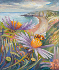 Sea asters and foraging bee