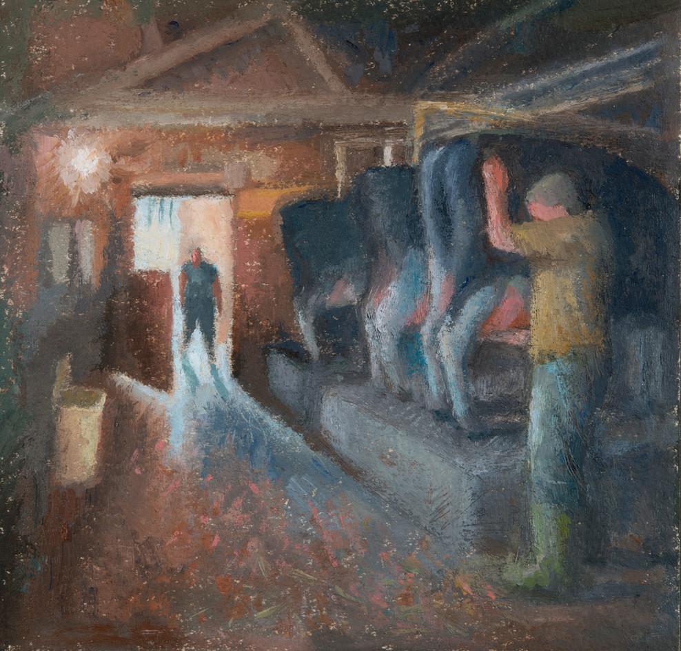 Pete milking, Butterwell Farm