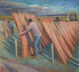 Jack tying stripped willow to dry, Willowfields