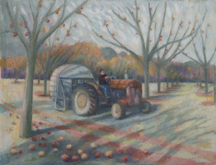 Carl blowing the leaves away, Over Stratton Orchard