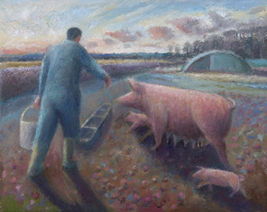 Rob feeding the sow and piglets, Glebe Farm