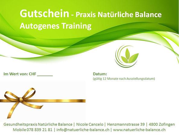 Gutschein Praxis Natürliche Balance