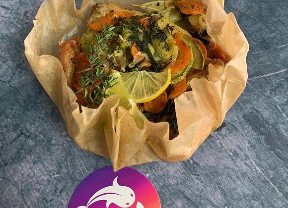 Узелок окунь с овощами