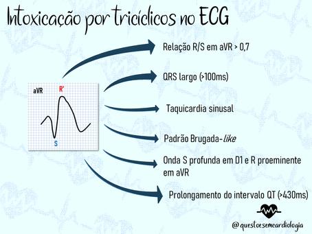 Quais são as alterações eletrocardiográficas da intoxicação por tricíclicos