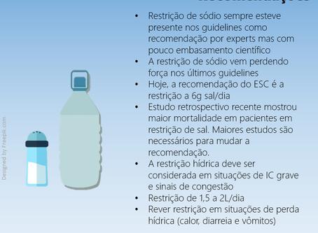 Recomendações de restrição de sódio e água na insuficiência cardíaca