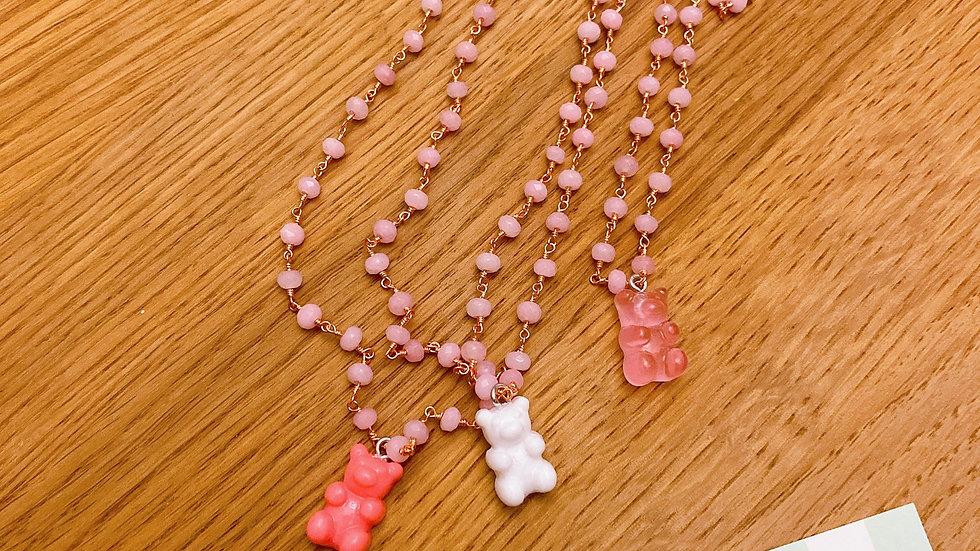 Collana teddy bear pink