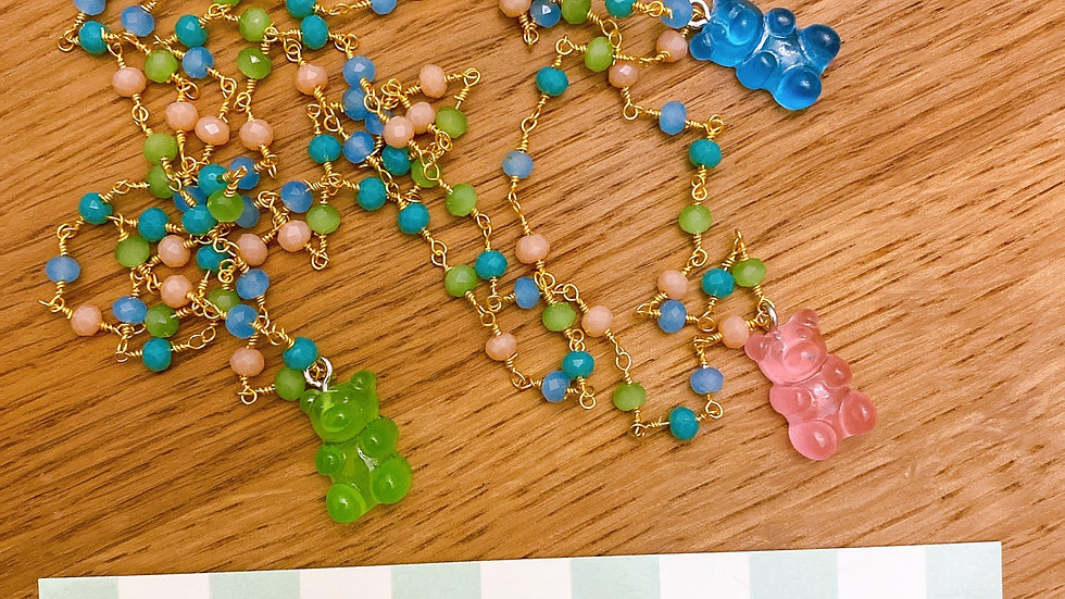 Collana teddy bear green and blue