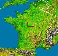 Dessin de la France avec la localisation du village de Nouan le Fuzelier