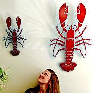 lobster acrylic wall art girl