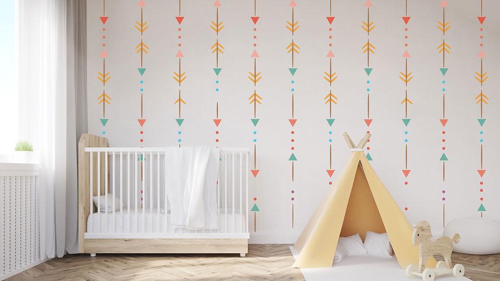 Murale 'Motifs Amérindiens' 10'x8'