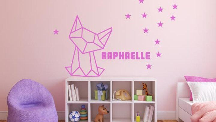 Renard + Étoiles + Nom de votre enfant