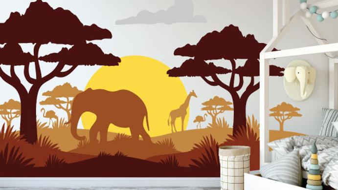 Murale 'Safari en Afrique 10'x8'