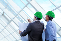 White collar workers hard hats_green