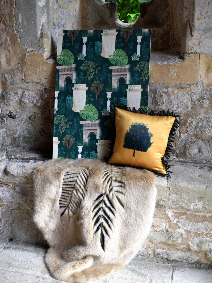 A toile de Jouy wallcovering design paired with hand painted cushion and digitally embroidered faux fur rug.