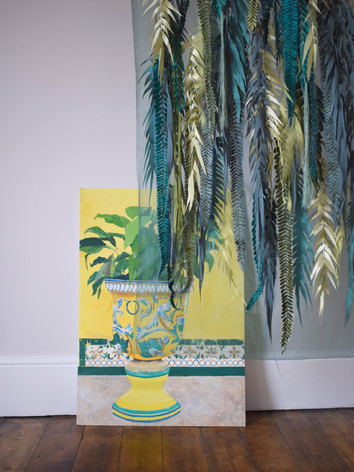 A wall hanging consisting of digital embroidered and laser cut leaf elements.