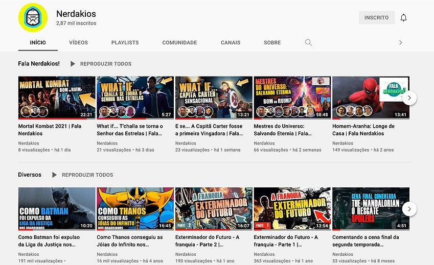Imagems vídeos do canal Nerdakios no Youtube