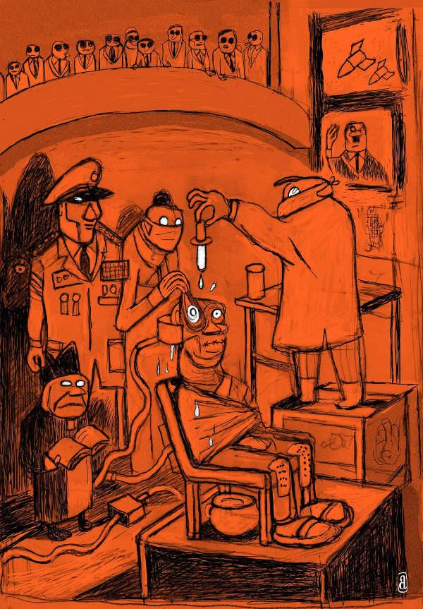 Ilustração de Angeli para o livro comemorativo de Laranja Mecânica