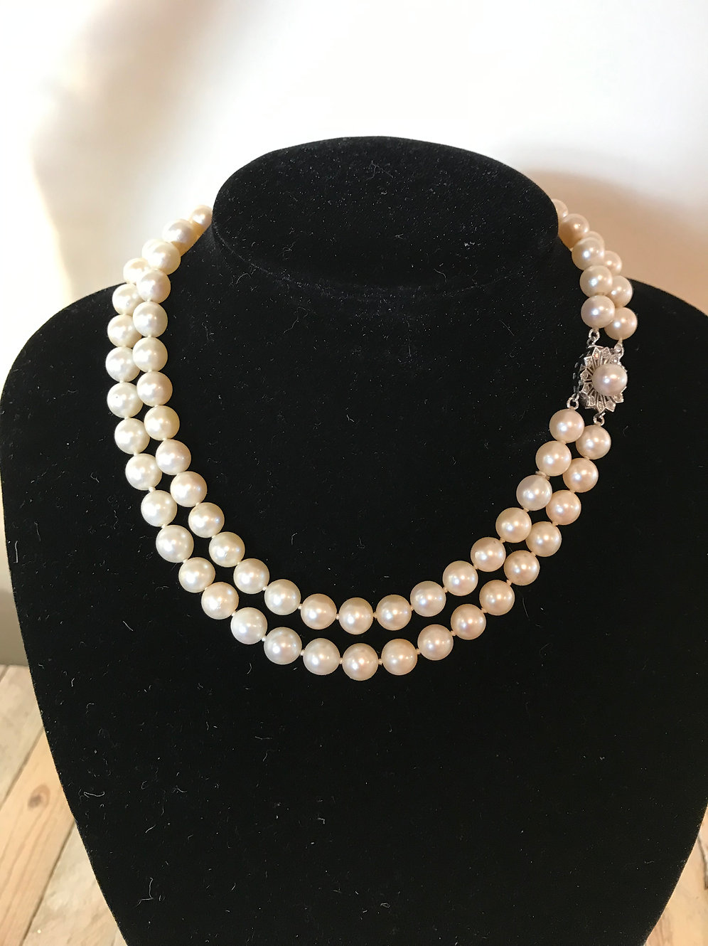 73aa4722b68f8 Double Strand Japanese Akoya Pearl Necklace with Diamond & Gold Clasp