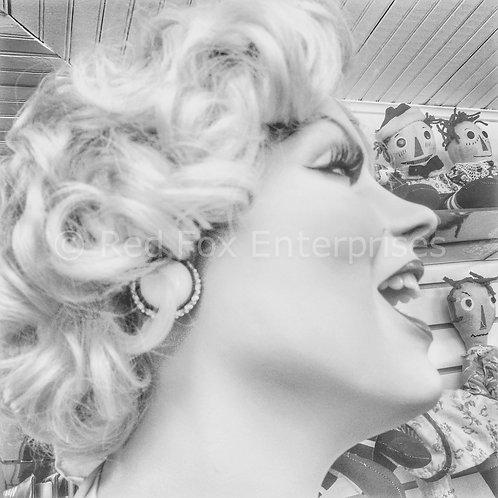 Marilyn Photo in Neon Blue Frame