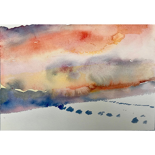 Annie Varnot : Desert Sunset  | Watercolor painting