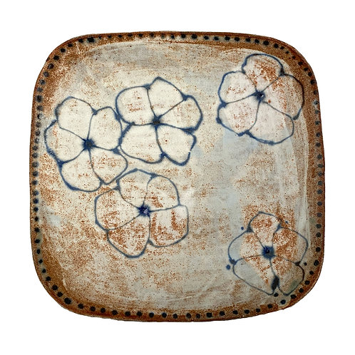 Blue Flowers Quare Stoneware Platter by Spako Clay