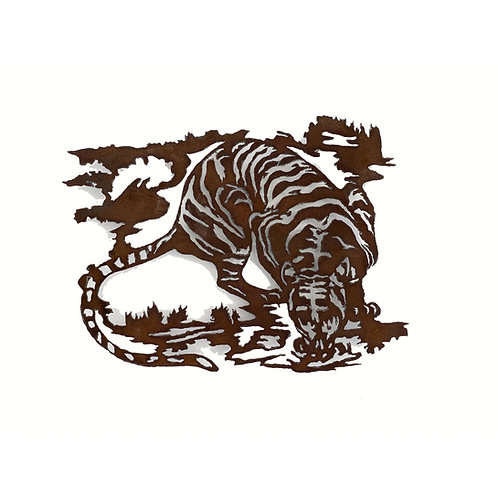 WENDY KLEMPERER | Tiger Drinking Night Steel Silhouette