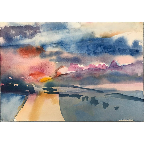 Annie Varnot : Montello: Desert Sunset II | Watercolor painting
