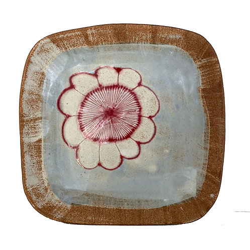 Red Flower Square Stoneware Platter by Spako Clay