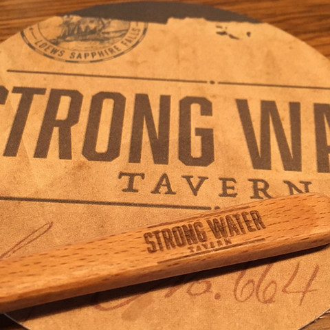 Strong Water Tavern Coaster & Drink Stir