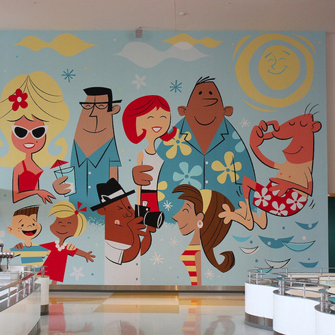 """""""The Tourists"""" Dining Wall Mural"""
