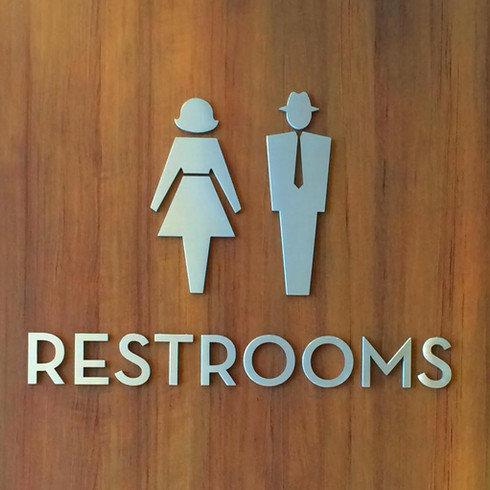 """""""June and Ward"""" Restroom Identity Sign"""