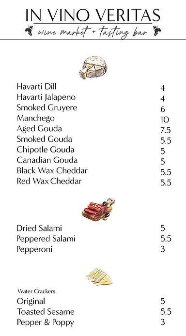 cheese, meat, cracker menu
