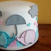 Bolo elefantinhos rosa e azul