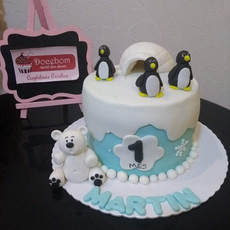 Bolo Urso Polar e Pinguim