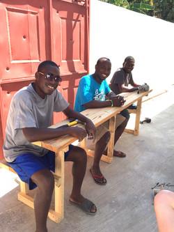 Taking a break on newly built bench