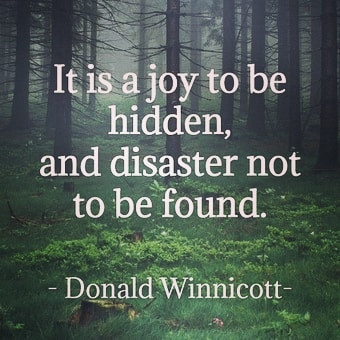 'It's a joy to be hidden and a disaster to not be found.' Winnitcott