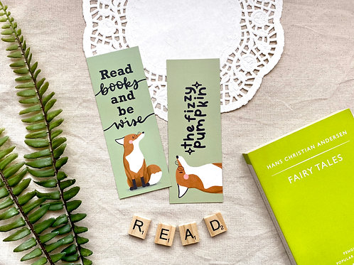 Read Books & Be Wise Fox Bookmark