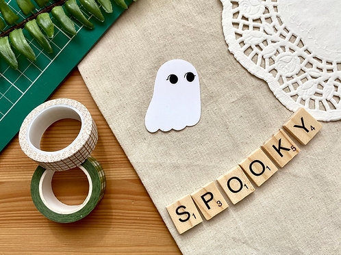 Spooky The Ghost Glitter Die Cut Sticker