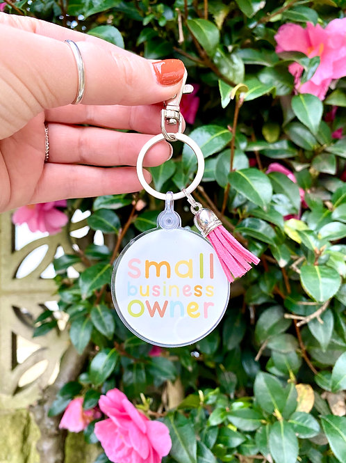 Small Business Owner Acrylic Keyring With Tassel