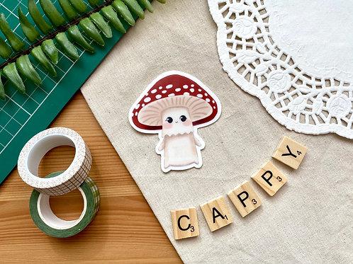 Cappy The Mushroom Waterproof Matte Clear Vinyl Sticker