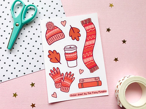 Cosy Autumn Essentials Sticker Sheet SS 007
