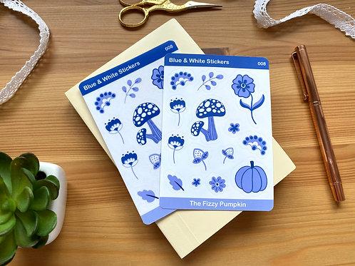 Blue & White Sticker Sheet