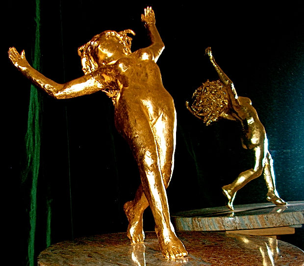 """lost wax"" method bronze figure sculpture with goldleaf"