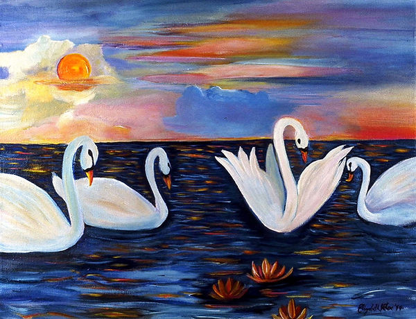 """Swans on the Water  18"""" x 24"""" acrylic on canvas"""