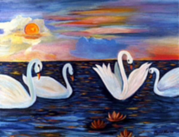 "Swans on the Water  18"" x 24"" acrylic on canvas"
