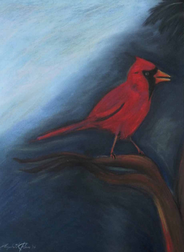 """Red Cardinal"" soft pastel on paper, ash wood frame"