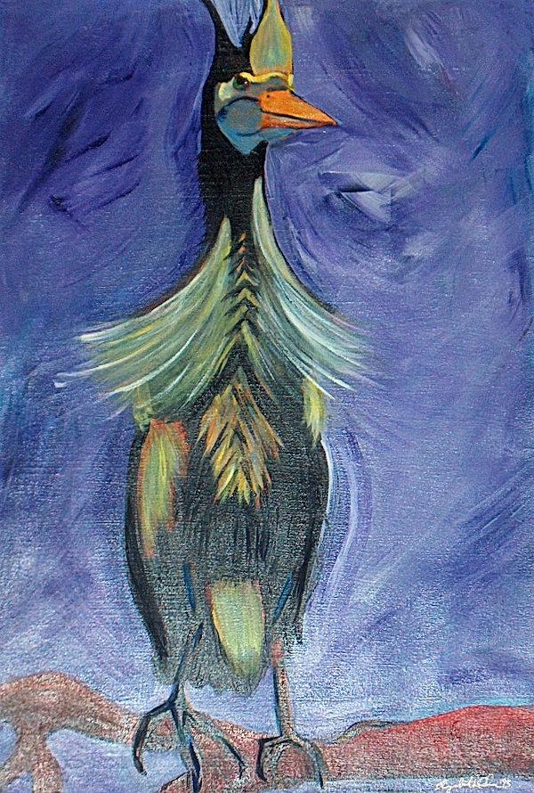 """Funny Bird"" acrylic on paper, 22""w x 30""h"