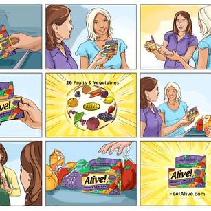 Storyboards for Alive Vitamins