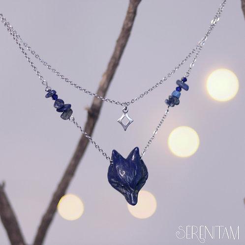 Collier Louve et lune lapis lazuli
