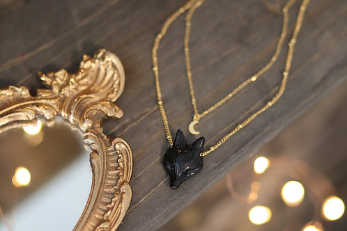 Collier court double loup obsidienne